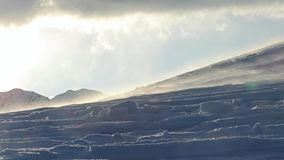 Blizzard drifting snow stock video