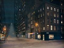 Blizzard em New York City rendição 3d Imagem de Stock Royalty Free