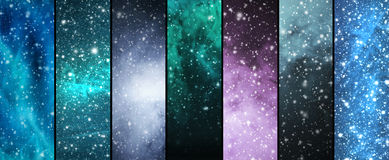 Blizzard, flocos de neve, universo e estrelas Foto de Stock Royalty Free