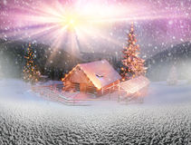Blizzard lonely house. Ukraine, Carpathians strong snowstorm covered the mountains of sugar crust, like frosting. The gentle radiance glow of sunrise in a Royalty Free Stock Images