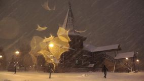 Blizzard in Moscow stock footage