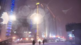 Blizzard in Moscow stock video footage