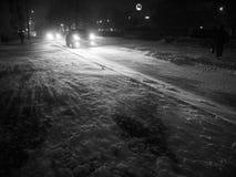 Blizzard na cidade da noite Imagens de Stock