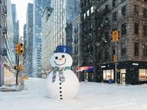 Blizzard in new york city. build snowman. 3d rendering Royalty Free Stock Photography