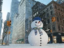 Blizzard in new york city. build snowman. 3d rendering Stock Photo