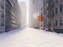 Blizzard in new york city. 3d rendering Royalty Free Stock Image