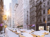 Blizzard in new york city. 3d rendering Stock Photography