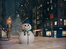 Blizzard in New York City Gestaltschneemann Wiedergabe 3d Stockfotos
