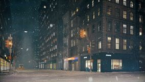 Blizzard in new york city. loop able. 3d rendering. Blizzard in new york city. nobody in the streets. 3d rendering stock footage