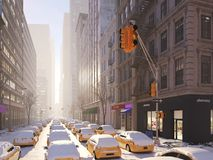 Blizzard in New York City Wiedergabe 3d Lizenzfreies Stockbild