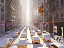 Blizzard in New York City Wiedergabe 3d Lizenzfreies Stockfoto
