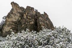 Blizzard no jardim das montanhas rochosas de Colorado Springs dos deuses durante o inverno coberto na neve fotografia de stock royalty free
