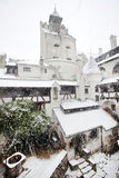 Blizzard over Bran Castle Stock Image