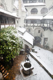 Blizzard over Bran Castle Royalty Free Stock Image