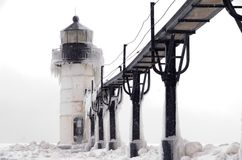 Blizzard over St. Joseph Lighthouse Stock Foto