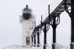 Blizzard over St. Joseph Lighthouse Royalty-vrije Stock Afbeelding