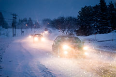 Blizzard on the Road during a Cold Winter Evening in Canada. Blizzard on the Road during a Cold Winter Evening in Gaspe, Quebec, Canada stock photography