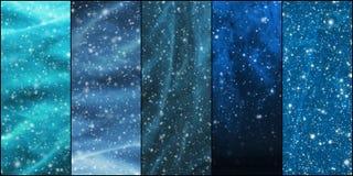 Blizzard, Schneeflocken, Universum und Sterne Lizenzfreie Stockfotos