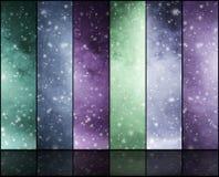 Blizzard, Schneeflocken, Universum und Sterne Stockfotos