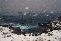 Blizzard on the sea in Salento - Italy. Blizzard on the sea in italy Stock Photography