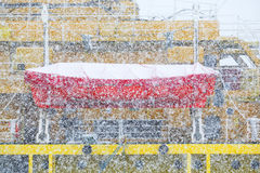 Blizzard. The sea tanker in a blizzard. Royalty Free Stock Photography