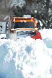 Blizzard Snow with plow truck Royalty Free Stock Photos