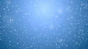 Blizzard snowfall seamless on blue gradient 3d animation. White snowflakes flying in strong wind looped cg with dof blur stock video footage