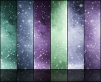 Blizzard, snowflakes, universe and stars. Winter backgrounds collection in a Christmas style Stock Photos