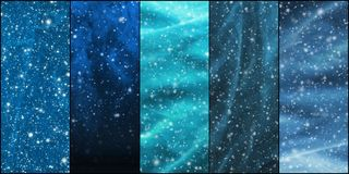 Blizzard, snowflakes, universe and stars. Royalty Free Stock Photo