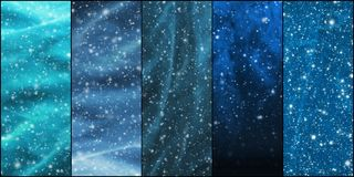 Blizzard, snowflakes, universe and stars. Winter backgrounds collection in a Christmas style Royalty Free Stock Photos