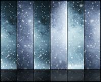 Blizzard, snowflakes, universe and stars. Winter backgrounds collection in a Christmas style Royalty Free Stock Image