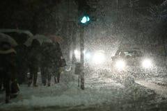 Blizzard in Stad royalty-vrije stock fotografie