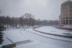 blizzard tempête de neige dans la tempête de neige forte de forêt en parc neige-Co photos stock