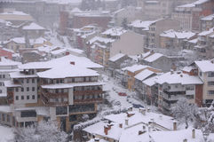 Blizzard in the Town of Veliko Tarnovo Royalty Free Stock Photography