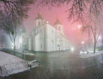 Blizzard und Regen eingeschlagenes Kiew Stockfotos