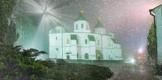 Blizzard und Regen eingeschlagenes Kiew Stockfotografie