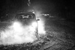 Blizzard in Verkehr bw Lizenzfreie Stockfotografie