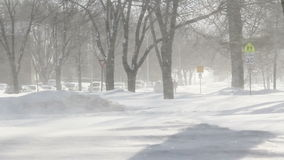 Blizzard winter in town stock footage