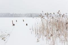 Blizzardwinterlandschaft an gefrorenem See Lizenzfreie Stockfotos