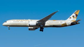 A6-BLL , Etihad Airways, Boeing 787-9 Dreamliner. A6-BLL is on final approach runway 23 at Istanbul Ataturk Airport LTBA, October 27, 2018 royalty free stock image