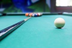 Blliard balls in a pool table Stock Photo