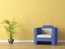 bllue τοίχος καναπέδων κίτρινο Στοκ εικόνα με δικαίωμα ελεύθερης χρήσης