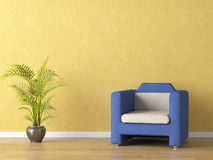 Bllue couch on yellow wall Royalty Free Stock Image