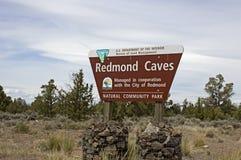 BLM Redmond Caves Information Sign Lizenzfreies Stockbild