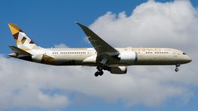 A6-BLN Etihad Airways, Boeing 787-9 Dreamliner. A6-BLN is on final approach runway 05 at Istanbul Ataturk Airport LTBA, October 5, 2018 stock photo