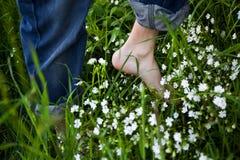 Bloße Füße auf grünem Gras Stockfotos
