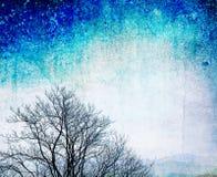 Bloßer Baum des Schmutzes auf strukturiertem blauem Hintergrund Lizenzfreie Stockbilder