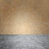 Bloßer konkreter Polierboden und Sperrholz ummauert Beschaffenheit Lizenzfreies Stockbild