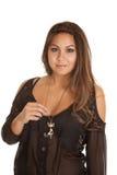 Bloßes Hemd der Frauenkatzen-Halskette Lizenzfreie Stockfotos