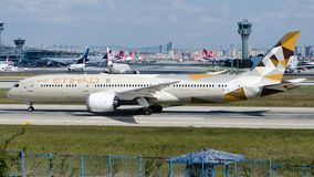 A6-BLO Etihad Airways, Boeing 787-9 Dreamliner. A6-BLO is rolling for take-off on runway 35L at Istanbul Ataturk Airport LTBA, October 5, 2018 royalty free stock image